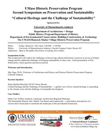 Cultural Heritage and the Challenge of Sustainability - University of ...