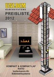 preisliste 2012 - uni-dim kaminsysteme, kamine, rauchfangsysteme
