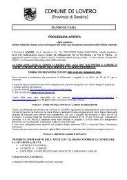 COMUNE DI LOVERO - Comunita Montana Valtellina di Tirano
