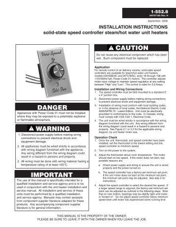 summer winter switch modine installation instructions solid state speed controller steam modine