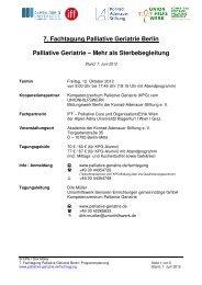 Tagungsprogramm «Palliative Geriatrie – Mehr als Sterbebegleitung