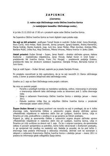 Zapisnik 2. seja Občinskega sveta - Občina Ivančna Gorica
