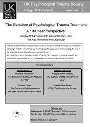 UK Psychological Trauma Society Inaugural Conference - ukpts