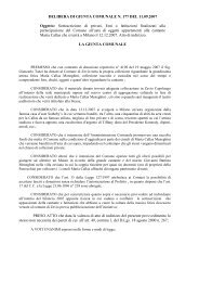 DELIBERA DI GIUNTA COMUNALE N. 177 DEL 11.09.2007 Oggetto