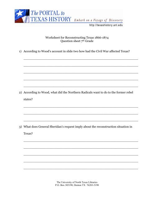 Worksheet for Reconstructing Texas 1866-1874 Question sheet 7th ...