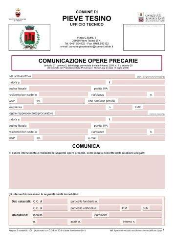 Comunicazione opere precarie - Comune di Pieve Tesino