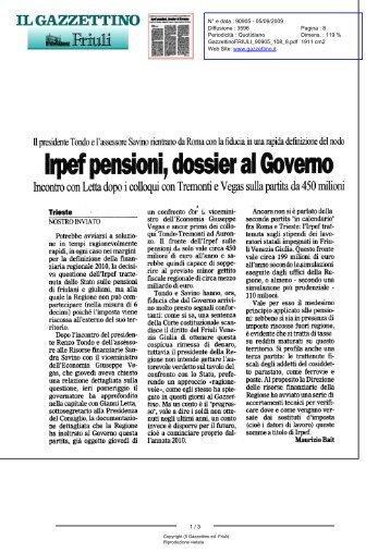 Gazzettino ed. Friuli (Il) N° 90905 - 05/09/2009 - 8 - la Presidente
