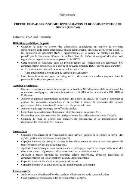 Fiche De Poste Resic69 1 Pdf Rhone Alpes
