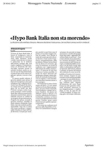 «Hypo Bank Italia non sta morendo» - la Presidente