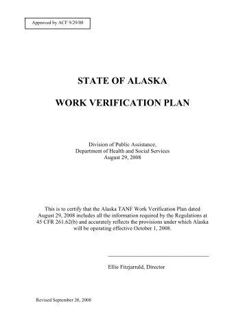 STATE OF ALASKA WORK VERIFICATION PLAN - DPAweb