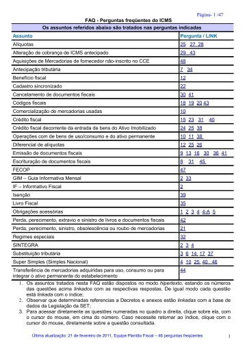 FAQ - Perguntas freqüentes do ICMS - Secretaria de Estado da ...