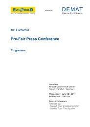 Pre-Fair Press Conference Programme - EuroMold