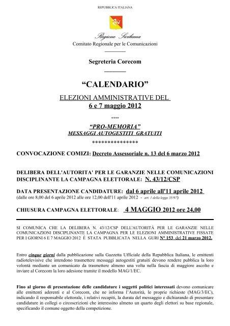 Calendario Elezioni.Calendario Elezioni 2012 E Pro Memoria Corecom Sicilia