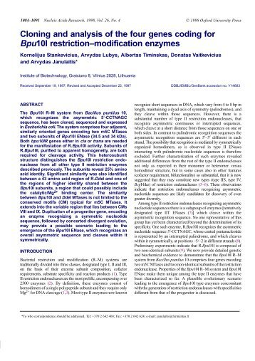Cloning and analysis of the four genes coding for Bpu10I restriction ...