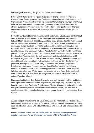 Die heilige Petronilla, Jungfrau (Im ersten Jahrhundert) - Einsiedelei.at
