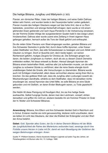 Die heilige Bibiana, Jungfrau und Märtyrerin († 363) - Einsiedelei.at