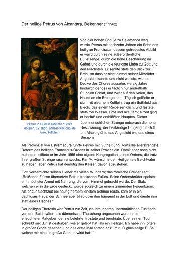 Der heilige Petrus von Alcantara, Bekenner († 1562) - Einsiedelei.at
