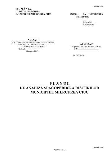 planul de analiză şi acoperire a riscurilor municipiul miercurea ciuc