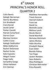 8 grade principal's honor roll quarter 2 - Red Hook Central School ...