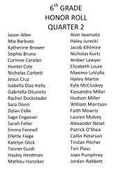 6 grade honor roll quarter 2 - Red Hook Central School District