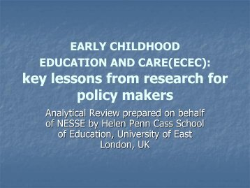 Key Lessons from Research for Policy Makers