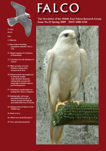 Issue No.33 Spring 2009 ISSN 1608-1544 - Middle East Falcon ...