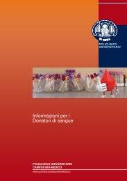 Informazioni per i Donatori di sangue - Policlinico Universitario ...