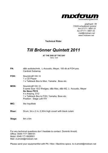 Till Brönner Quintett 2011 - Mixtown Veranstaltungstechnik