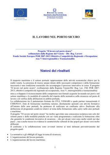 Sintesi dei risultati del progetto - Porto di Venezia