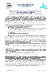 Campagna di monitoraggio della qualità dell'aria nel Comune di ...
