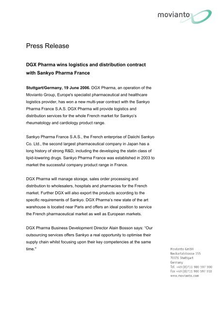 DGX Pharma wins logistics and distribution contract with