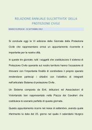relazione annuale attività della Protezione Civile - Comune di Pisa