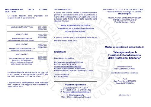 """""""Management per le Funzioni di Coordinamento delle ... - Cottolengo"""