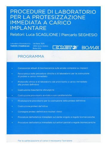 procedure di laboratorio per la protesizzazione immediata a carico ...