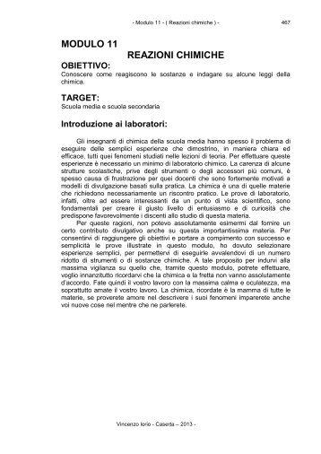 Modulo 11: Reazioni chimiche - atuttoportale