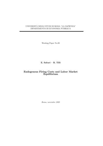 Endogenous Firing Costs and Labor Market Equilibrium - Dipecodir.it