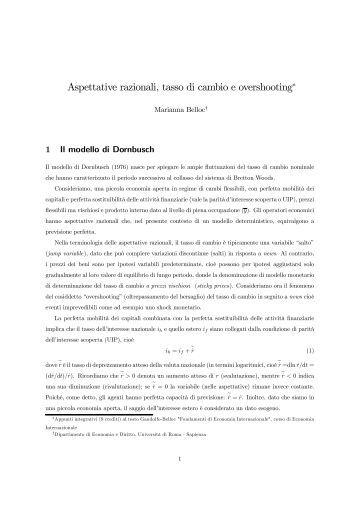 Aspettative razionali, tasso di cambio e overshooting∗ - Dipecodir.it