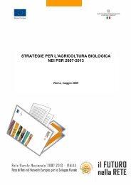 STRATEGIE PER L'AGRICOLTURA BIOLOGICA NEI PSR 2007-2013