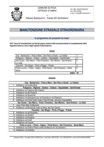 Piano lavori pubblici strade del Comune di Pisa - Filippeschi, Marco