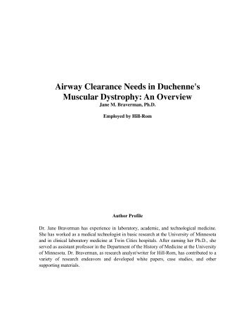Airway Clearance Needs in Duchenne's Muscular Dystrophy