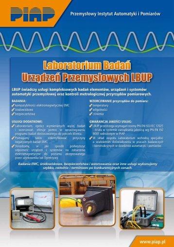 Laboratorium Badań Urządzeń Przemysłowych LBUP - Piap