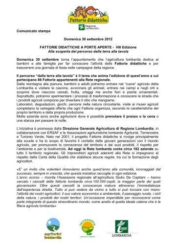 Comunicato Fattorie aperte 2012 - BuonaLombardia.it