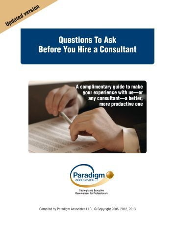 Questions To Ask Before You Hire a Consultant - Paradigm Associates