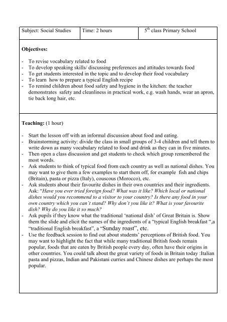 lesson plan 5 British Food pdf - handsonprimaryclil