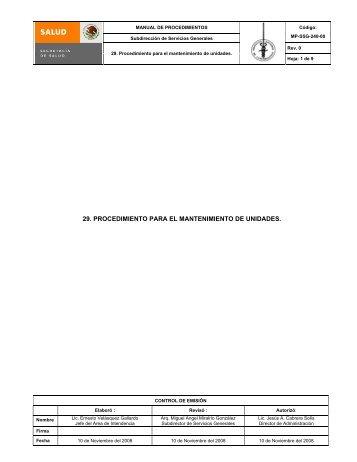 29. PROCEDIMIENTO PARA EL MANTENIMIENTO DE UNIDADES.
