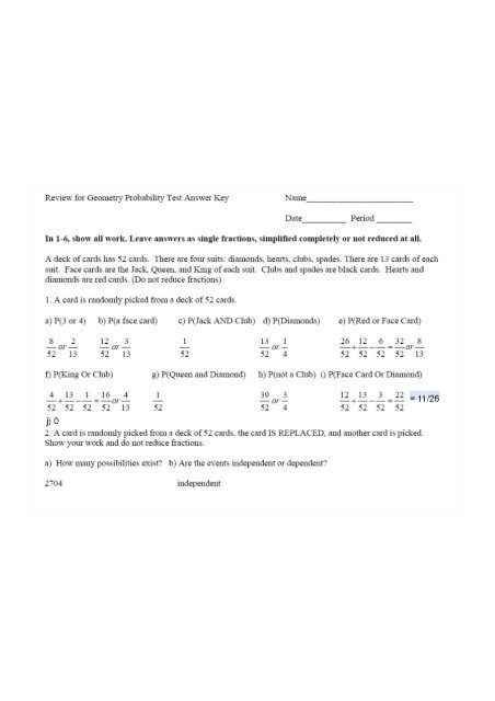 Review for Geometry Probability Test Answer Key Name Date Pen'od
