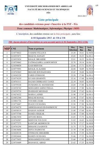 Liste principale des candidats retenus pour s'inscrire à la FST