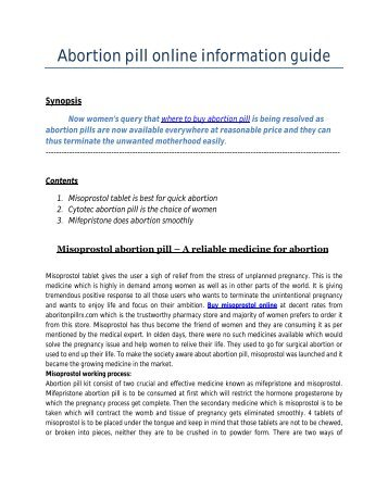 Abortion pill online information guide