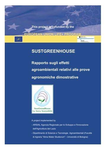 Rapporto sugli effeeti agroambientali relativi alle ... - Sustgreenhouse