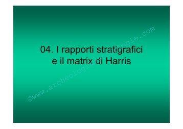 04 - Rapporti stratigrafici e matrix di Harris